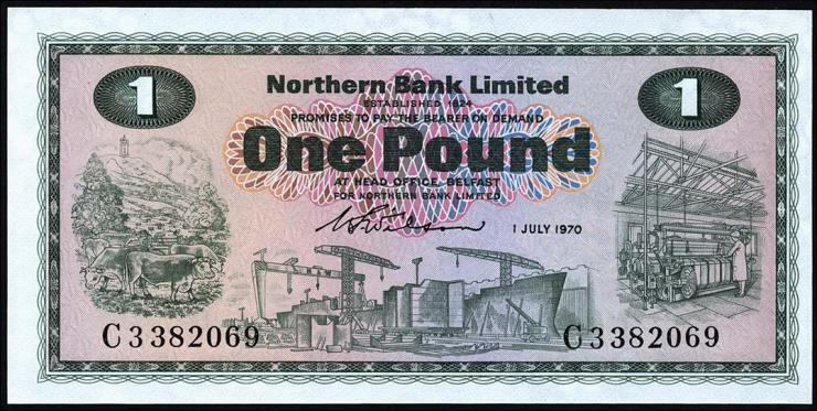Nordirland / Northern Ireland P.187a 1 Pound 1970 (1)