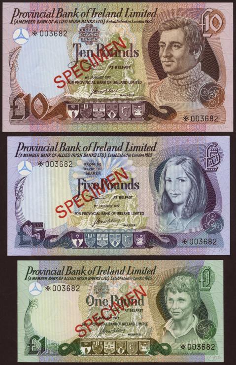 Nordirland / Northern Ireland P.CS2 1,5,10 Pounds 1977 Specimen Set (1)