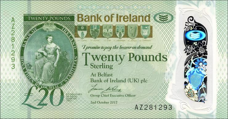 Nordirland / Northern Ireland P.092 20 Pounds 2017  Polymer (1)