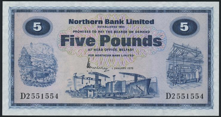 Nordirland / Northern Ireland P.188b 5 Pounds 1976 (1)