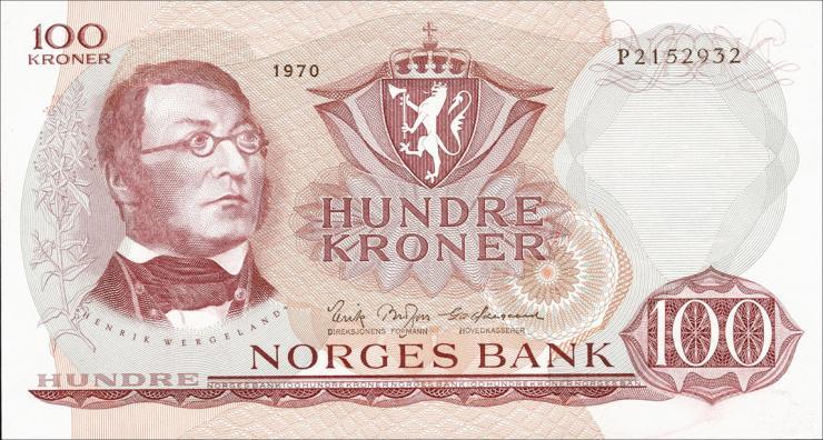 Norwegen / Norway P.38d 100 Kronen 1970 (1)