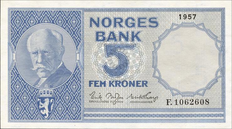 Norwegen / Norway P.30d 5 Kronen 1957 (1)