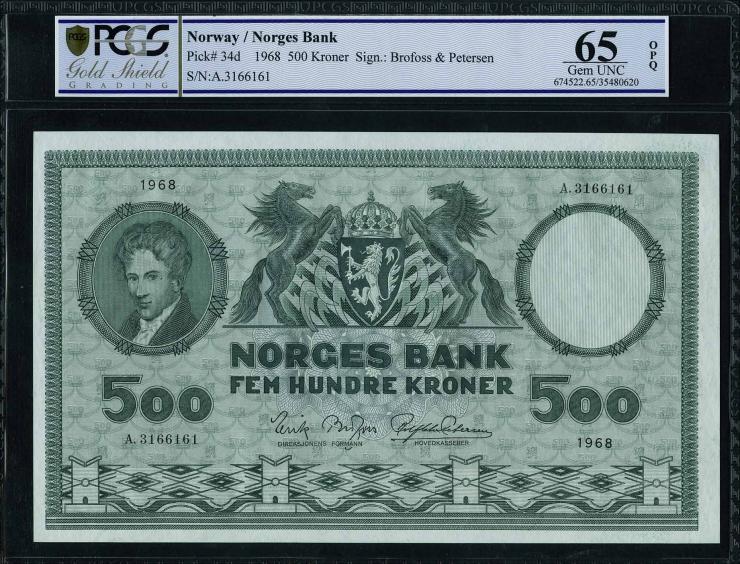 Norwegen / Norway P.34d 500 Kronen 1968 (1)