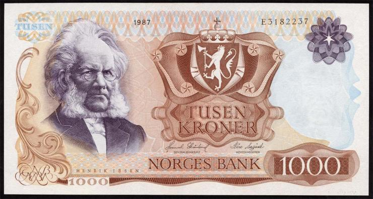 Norwegen / Norway P.40c 1000 Kroner 1987 (2/1)