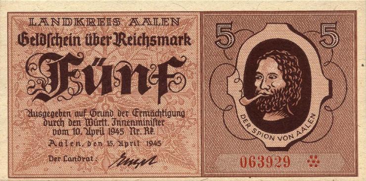 Notgeld Aalen 5 Reichsmark 19.4.1945 (1)