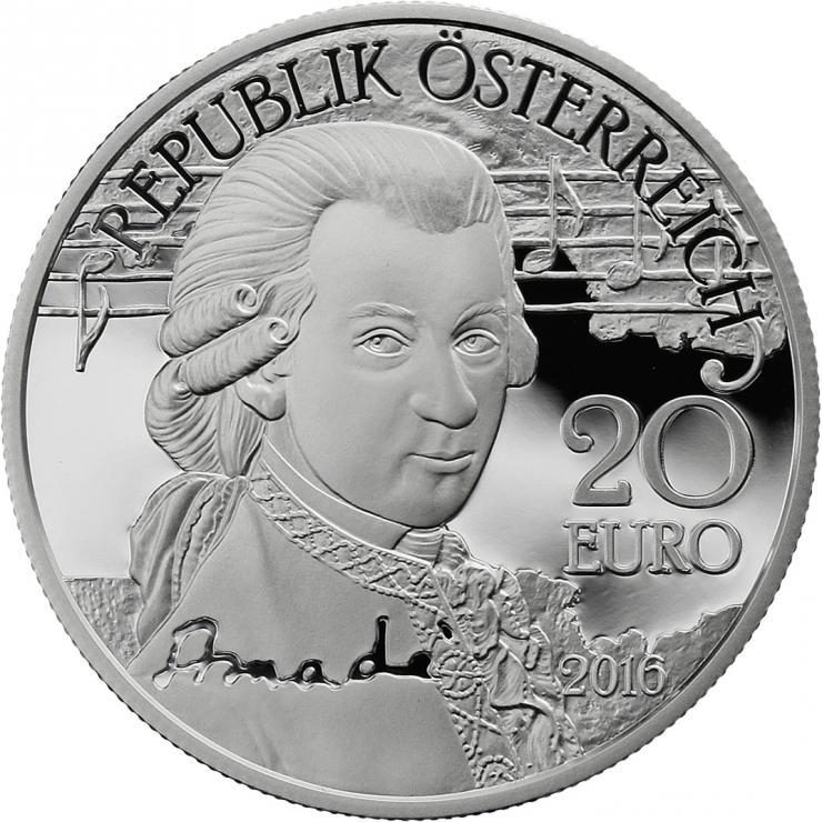 Österreich 20 Euro 2016 W. A. Mozart: Das Genie