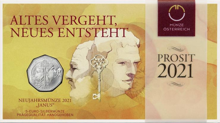 Österreich 5 Euro 2021 Janus (Neujahrsmünze) im Folder