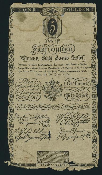 Österreich / Austria P.A038 5 Gulden 1806 (6)