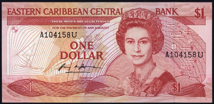 Ost Karibik / East Caribbean P.21u 1 Dollar (1988-89)