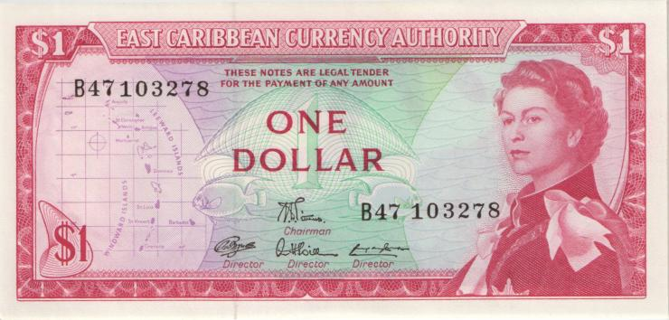 Ost Karibik / East Caribbean P.13d 1 Dollars (1965) (1)