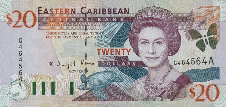 Ost Karibik / East Caribbean P.39a 20 Dollars (2000) Antigua (1)