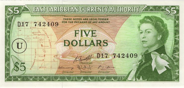 Ost Karibik / East Caribbean P.14u 5 Dollars (1965) (1)
