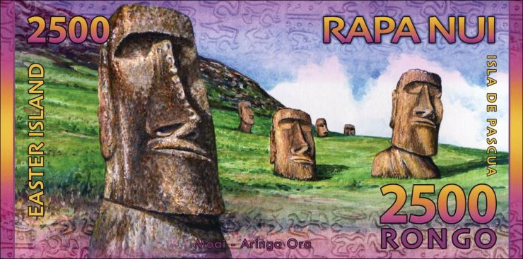 Osterinseln / Easter Islands 2500 Rongos (= 5 $) 2011 Polymer