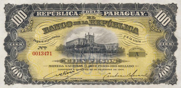 Paraguay P.159 100 Pesos L. 1907 (1)