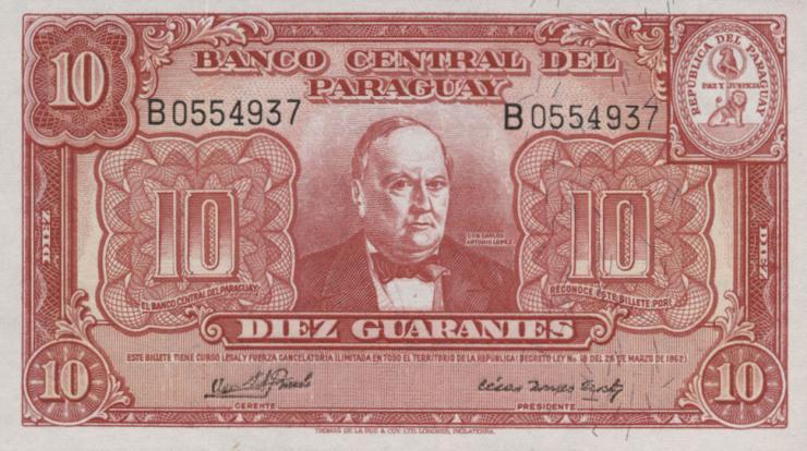 Paraguay P.187b 10 Guaranies 1952 (1)