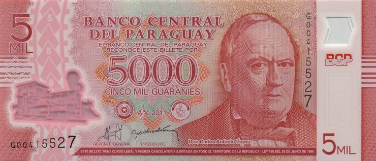 Paraguay P.234a 5000 Guaranies 2011 Polymer