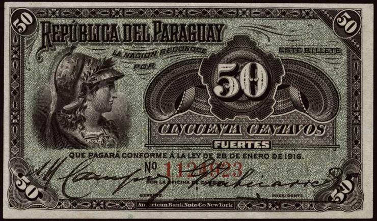 Paraguay P.137 50 Centavos Fuertes  L. 1916 (1/1-)