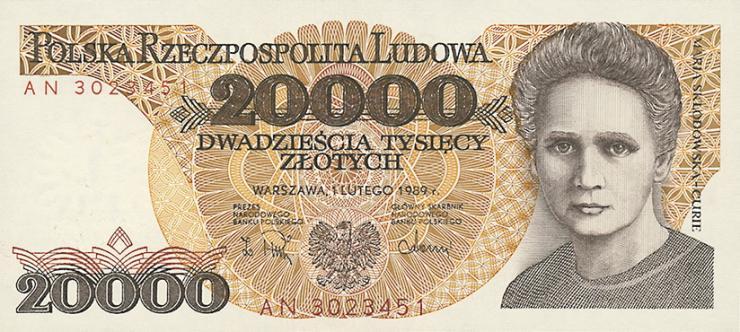 Polen / Poland P.152 20000 Zlotych 1989 (1) Marie Curie