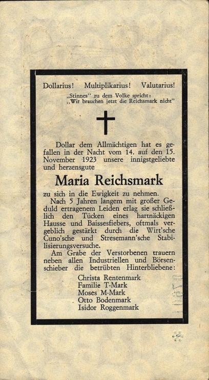 """Propagandanote """" Maria Reichsmark """" auf 500 Millionen (3)"""