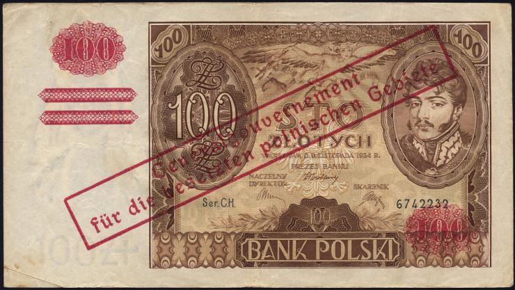 R.570c: Generalgouv. Polen 100 Zlotych 1934 (3)