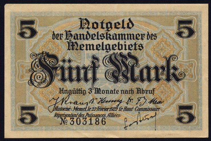 R.849b: Memelgebiet 5 Mark 1922 (1-)
