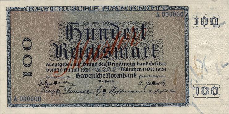 R-BAY 24: 100 Reichsmark 1924 Muster (1)