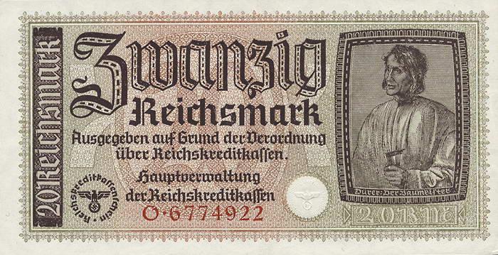 R.554a: 20 Reichsmark (1939) Reichskreditkasse (1-)