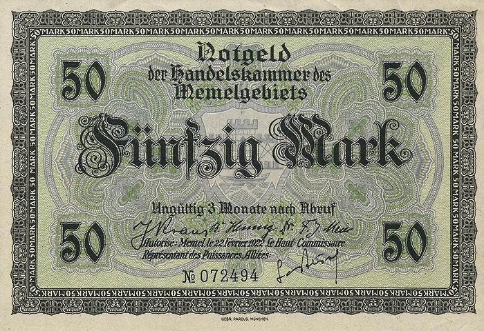 R.852a: Memelgebiet 50 Mark 1922 (1/1-)