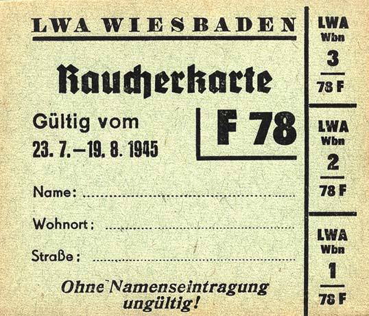 Raucherkarte für Frauen 1945 (1-)