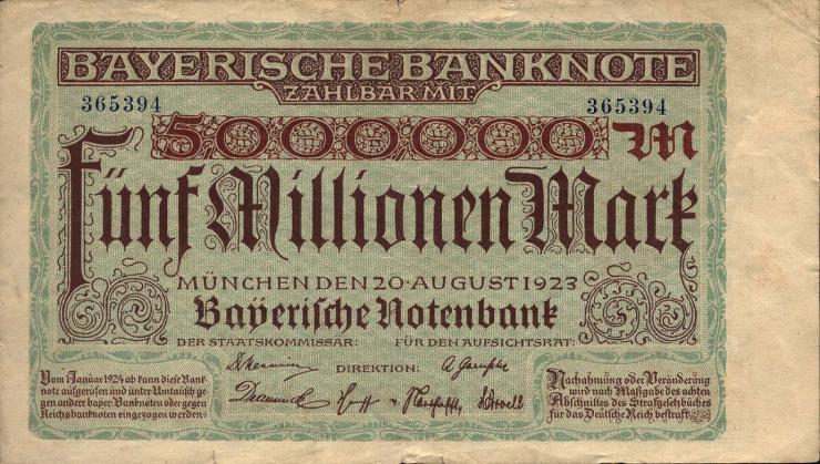 R-BAY 13b: 5 Mio. Mark 1923 (3)