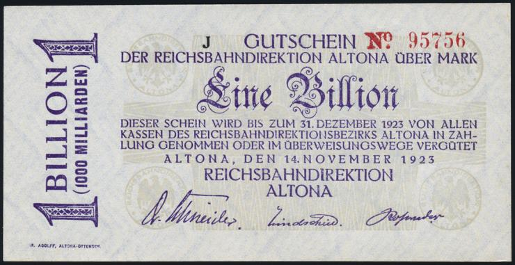 Reichsbahn Altona 1 Billion Mark 1923 mit No. (1)
