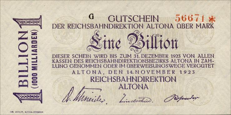 Reichsbahn Altona 1 Billion Mark 1923 (1)