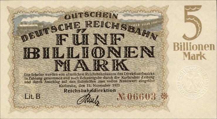 Reichsbahn Karlsruhe 5 Billionen Mark 1923 (1)