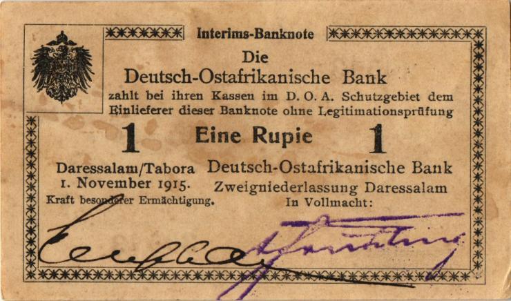 R.916u: Deutsch-Ostafrika 1 Rupie 1915 E2 SN:30543 (1-)