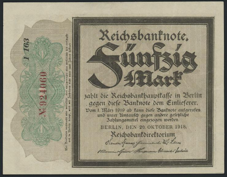 """R.056c: 50 Mark 1918 """"Trauerschein""""  (2)"""