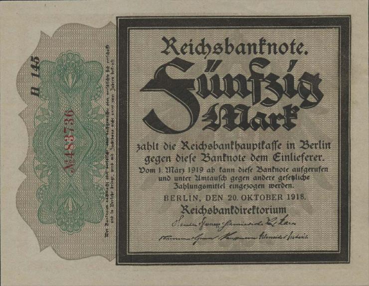 R.056e: 50 Mark 1918 Trauerschein (1)