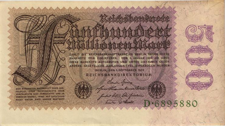 R.109a: 500 Mio. Mark 1923 Reichsdruck (2)