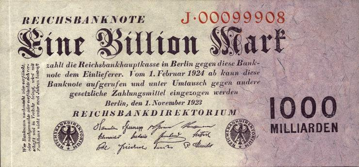 R.126a: 1 Billion Mark 1923 Reichsdruck (2/1)