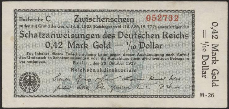 R.139a: 0,42 Mark Gold = 1/0 Dollar 1923 (1/1-)