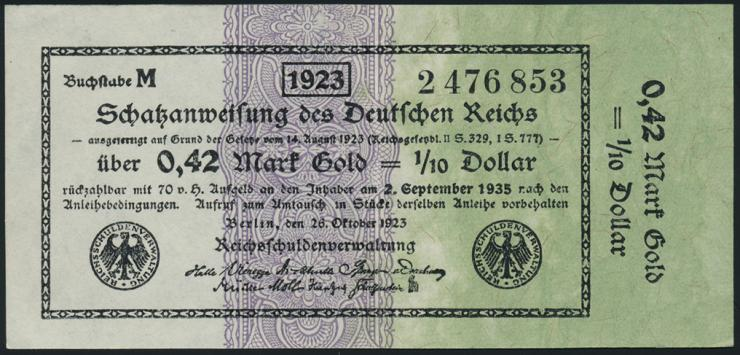 R.142b: 0,42 Mark Gold = 1/10 Dollar 1923 (2)