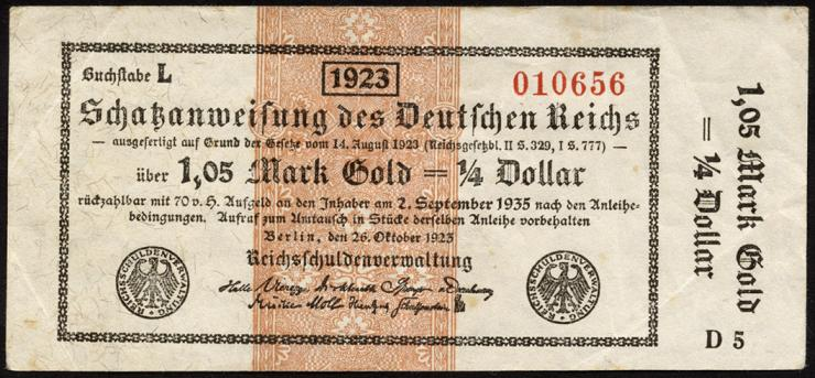 R.143a: 1,05 Mark Gold = 1/4 Dollar 1923 (3)