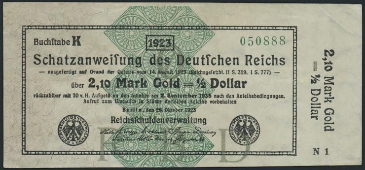 R.144a 2,10 Mark Gold = 1/2 Dollar 1923 (3)