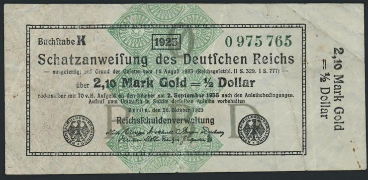 R.144b: 2,10 Mark Gold = 1/2 Dollar 1923 (3)