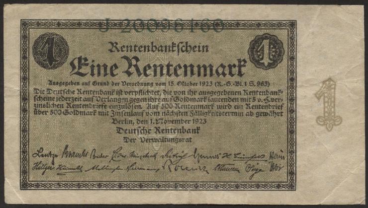 R.154a: 1 Rentenmark 1923 Reichsdruck (3)