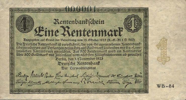 R.154b: 1 Rentenmark 1923 Firmendruck No. 000001 (2)