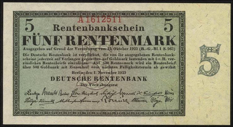 R.156b 5 Rentenmark 1923 7-stellig (2/1)