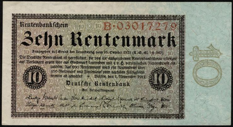 R.157 10 Rentenmark 1923 (3+)