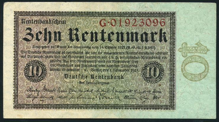 R.157: 10 Rentenmark 1923 (1/1-)