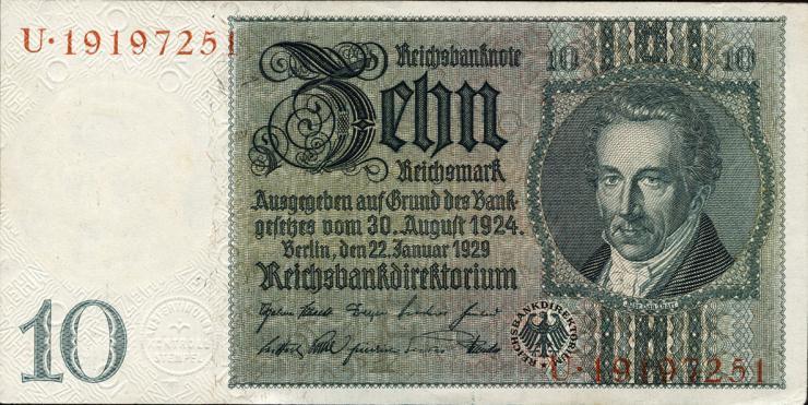 R.173a: 10 Reichsmark 1929 UDR. F/U (1)