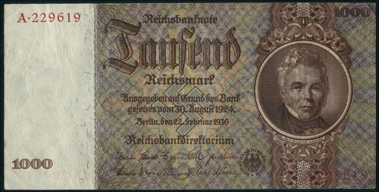 R.177: 1000 Reichsmark 1936 Schinkel (3+)